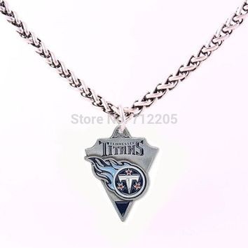 Enamel single-sided Tennessee Titans Fans Collection 10pcs Wheat Link Chain with Large Clasp football necklace