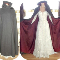 Vintage 70s Dramatic Full Sweep Wool Hooded Cloak Steampunk Medieval Cape Coat Tassel LOTR LARP