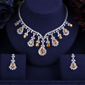 JANEKELLY FAMOUS BRAND BRILLIANT CRYSTAL ZIRCON EARRINGS AND NECKLACE SETS BRIDAL JEWELRY SET WEDDING DRESS ACCESSARIES