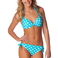 Turquoise Dot Print Push Up Bikini Top