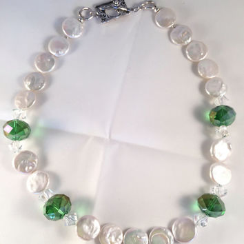 White Coin Pearl Necklace with Green Swarovski Crystal Accents 22414bd73e45