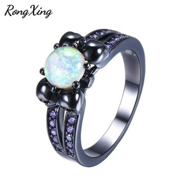 RongXing Round White Fire Opal Skull Rings For Women Black Gold Filled Purple/Red/Blue/Green Zircon Birthstone Ring Punk Jewelry