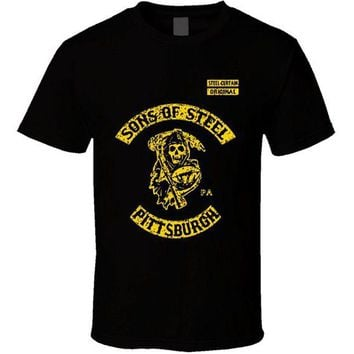 DCCKH6B 2017 fashionT-Shirt Bandit Sons of Steel Pittsburgh Curtain Steelers SOa Reaper Footballer cotton O-Neck T Shirt