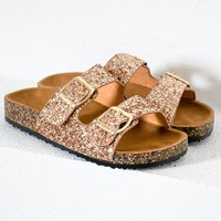 Rose Gold Glitter Buckle Sandal
