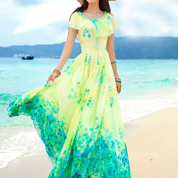 Yellow Floral Print Cape Sleeve Chiffon Sheath Pleated Maxi Dress