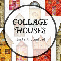 Collage Houses Instant Digital Download in Mixed Media Style for Scrapbooking, Journaling, and more! House Download, House Clipart.