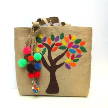Tree jute tote bag, bohemian inspired, handmade tote, hand applique with colorful leaves , playful pom-poms bag charm, summer beach tote bab