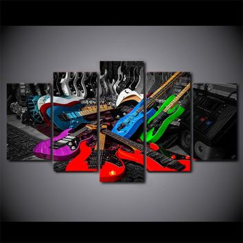 Colorful Rock Guitar 5 Piece Canvas Art Wall Pictures for Music Room
