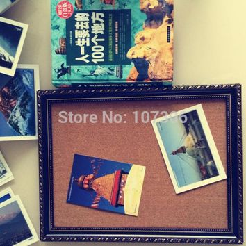 New Arrival Cork Bulletin Board Oil Painting Frame Message Boards 45*35cm Corkboard with Push Pins Photos Board For Home School