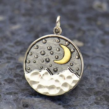 Sterling Silver Mountain Pendant with Bronze Moon