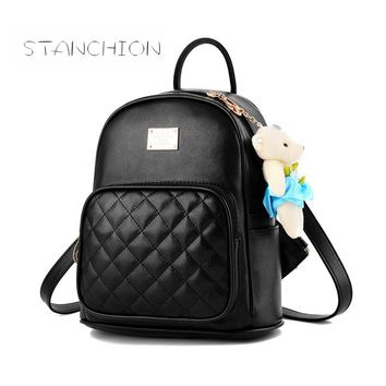 Backpack Faux Leather Women Daily Portable Multifunctional Solid Vintage Zipper Shoulder Bag Tourism Shopping Bear Bags