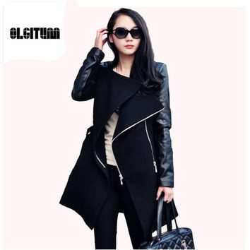 2017 Winter&Fall  Fashion women coat Patchwork Womens Long Wool PU Leather Sleeve Jacket Coat Windbreaker Free Shipping WC064