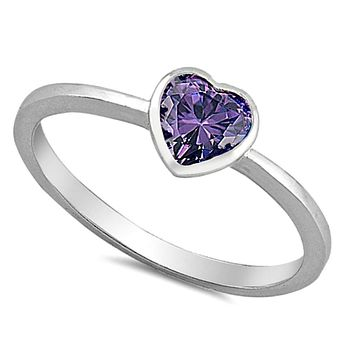 .925 Sterling Silver Kids and Ladies Amethyst CZ Heart ring Size 2-10