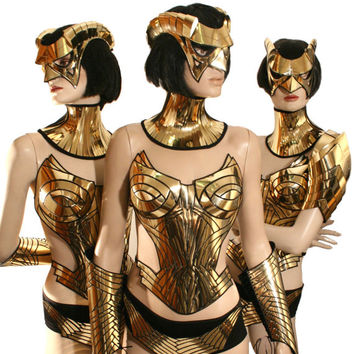 Gold overbust, corset, sci fi costume, harness,armour, cyber, goth, fetish, burning man, cyberpunk, futuristic clothing, death metal