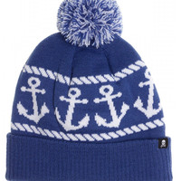 """Anchors"" Pom Hat by Sourpuss Clothing (Blue/White)"