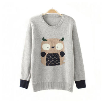 Knit Tops Cartoons Print Pullover Winter Round-neck Long Sleeve Patchwork Sweater [8422524353]
