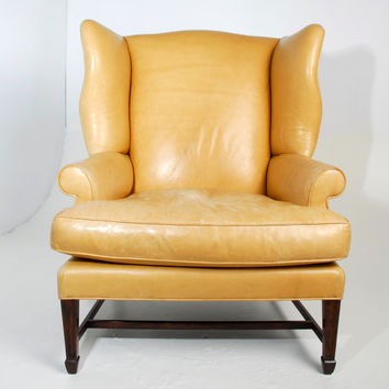 Magnificent Oversized Vintage Caramel Leather Wingback Chair