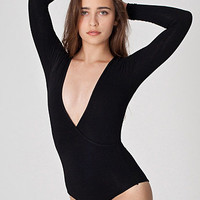 Cotton Spandex Jersey Cross-V Bodysuit