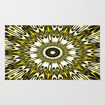 Yellow White Black Explosion Area & Throw Rug by 2sweet4words Designs