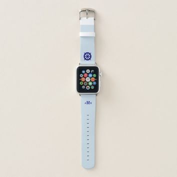 Custom Monogram Grey Apple Watch Band (Nautical)