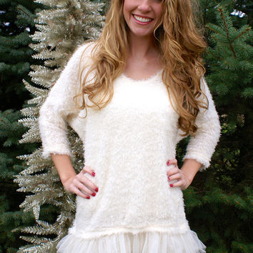 Winter Wonderland Sweater Dress: Cream