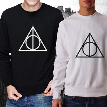 Deathly Hallows sweater Black and White Sweatshirt Crewneck Men or Women Unisex Size