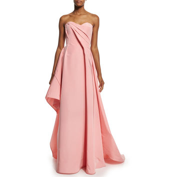 Strapless Sweetheart-Neck Draped Gown, Pink
