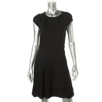 Cynthia Steffe Womens Ribbed Knit Contrast Trim Sweaterdress