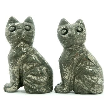 Pyrite Cat 01 - Pair Stone Fools Gold Animal Set