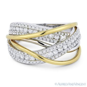 1.11ct Round Cut Diamond 18k Yellow & White Gold Right-Hand Overlap Fashion Ring