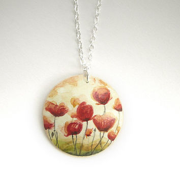 Romantic Poppy Necklace  -  Flower Jewelry Hand Painted Wooden Pendant