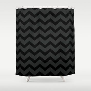 Black and Grey Chevron Shower Curtain - Black Shower Curtain - Dark Grey Bathroom Decor - Made to Order