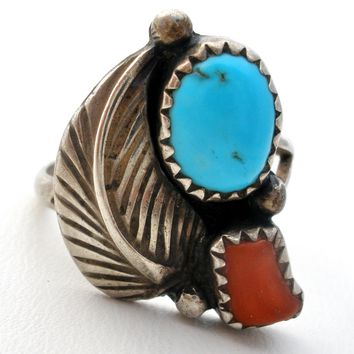 Navajo Turquoise &  Coral Ring Sterling Silver
