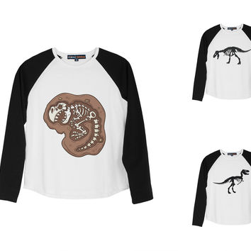Kid's Dinosaur 2 Printed 100% Cotton Long Sleeves Raglan T-Shirt UTS_01