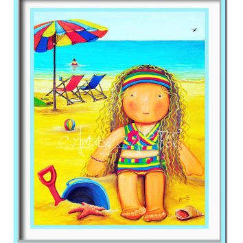 "Girls room decor, beach theme, Original Oil Painting, kids wall art decor, wall Art Decor, beach room decor, Mia Collection, ""At the Beach"""