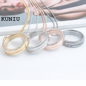 KUNIU 2017 Fashion Crystal Pendant Silver Rhinestone Floating locket Memory Living Locket Necklace