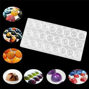 Transparent Hard Chocolate Maker Polycarbonate PC DIY 24 Half Ball Candy baking Mold Mould kitchen pastry tools #XTT