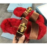 Gotopfashion PRADA Rabbit Hair Casual Sandal Slipper Shoes Flip Red I-AGG-CZDL