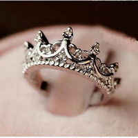 Korea Temperament Elegant Queen Silver Crown Clear Crystals Lady Rings
