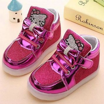 Children Shoes 2017 New Spring Hello Kitty Rhinestone Led Shoes