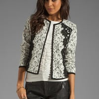 Nanette Lepore Spectacle Lace Jacket in Ivory and Black from REVOLVEclothing.com