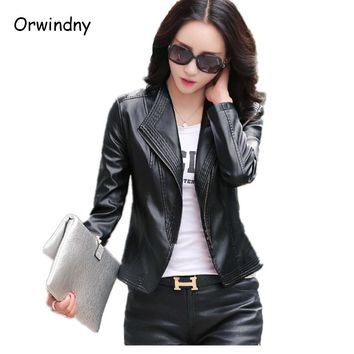 Spring and autumn female leather clothing slim leather coat outerwear fashion plus size top short women leather jacket 2018