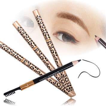 1pcs Eyebrow Pencil Brush Eyebrow Enhancer Long Lasting Makeup Pencil to Eye Two Sides With Brush Design Metal Casing