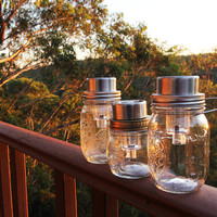 Clear solar powered Ball Mason jar lantern, handmade and hand assembled in Sydney