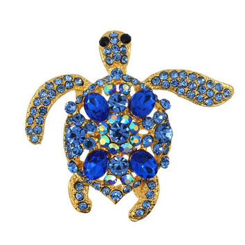 Bling Rhinestone Made Turtle Brooch Pin Animal Gold Plated Tortoise Jewelry For Christmas Wedding Party Blue Pink Purple NW