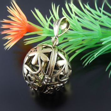 GraceAngie 1PCS 26*24*21mm Antique Bronze Copper Hollow Wintersweet  Locket Pendant For Jewelry Finding Necklace Accessory