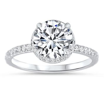 8 mm Moissanite Engagement Ring Hidden Halo Diamond Micro Pave Setting - Fire