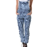 Women's Washed Ripped Overalls RJHO145 - D2B