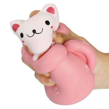 """5 1/2"""" x 3 1/2"""" Cute Cat in a Cup Slow Rise Squishy Toy for Anxiety, Stress Relief & Fun"""