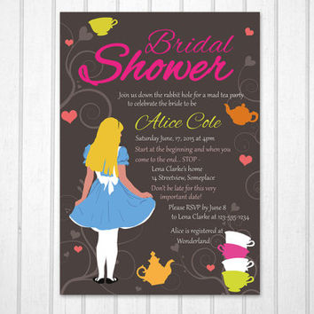 Alice in Wonderland Bridal Shower PRINTABLE invitation,  Disney Alice illustration